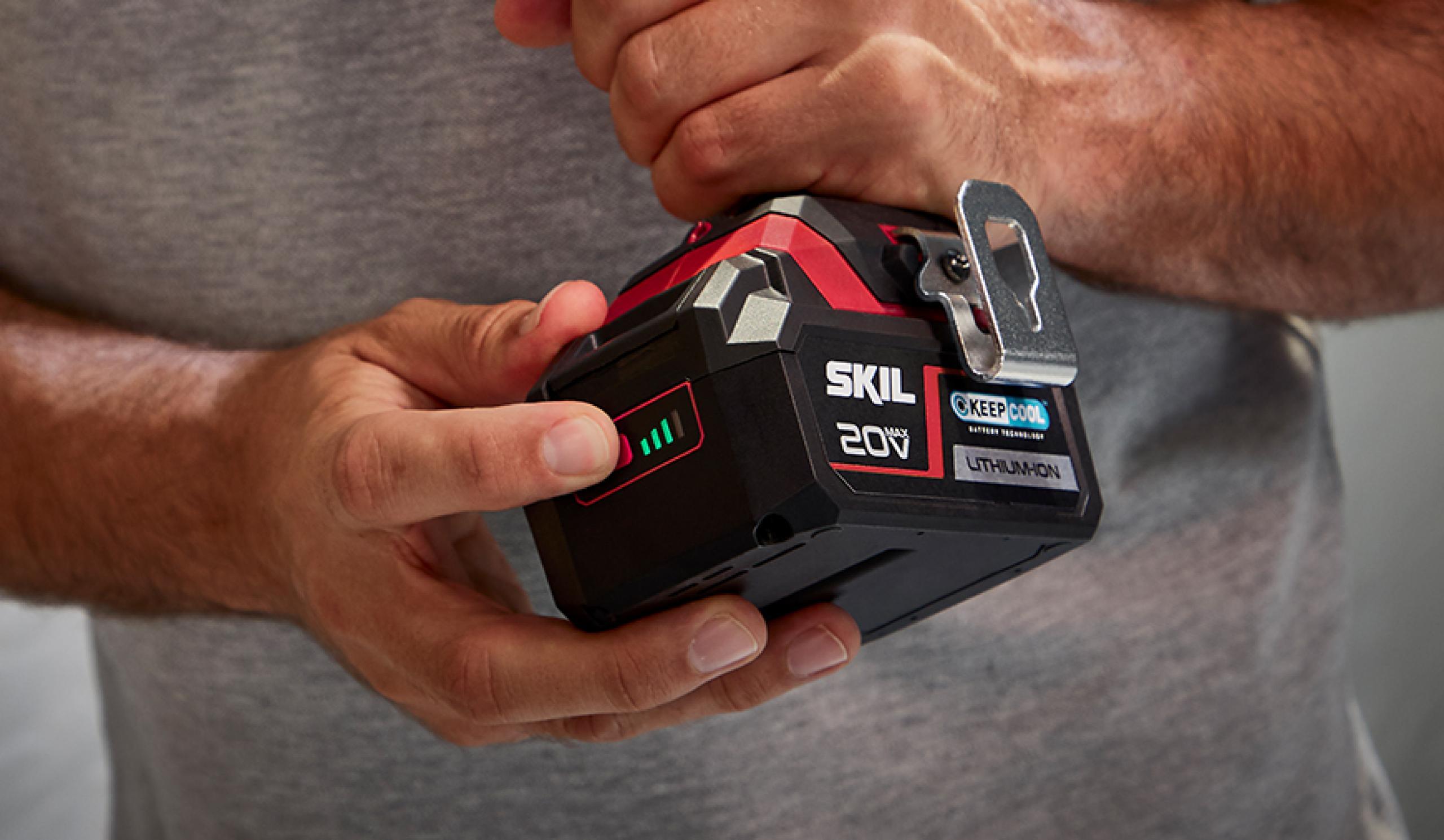 Indicador de nível de bateria patenteado; o indicador de confiança